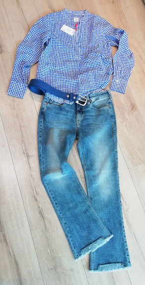 Outfit || 10007 | Bluse | Emily | 36, 40, 42 | 69,95 € || 10016 | Jeans | Herrlicher | 27, 28, 30, 31 | 119,95 €