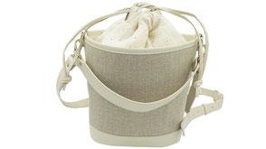 Sac seau l'Insolente Paris - Pompadour ivoire - sacs et pochettes en lin et cuir - Maroquinerie pour femmes - sac porté épaule et main. Accessoire de mode en lin ivoire