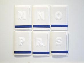 Karten klein aus weißem Papier M-S