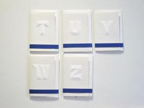 Karten klein aus weißem Papier T - Z