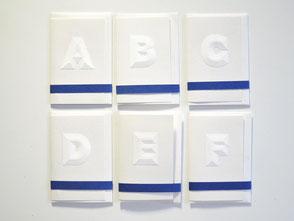 Karten klein aus weißem Papier A - F
