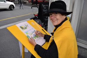 Kathrin Severin und ihr Yellow Board.