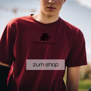 Mammut Motiv auf rotem Shirt von Jungen