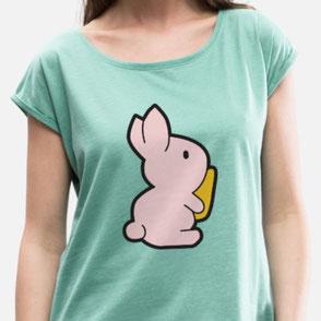 Damenshirt mit süßem Aufdruck von einem Hasen