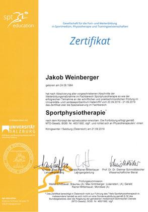 Zertifikat Sportphysiotherapie