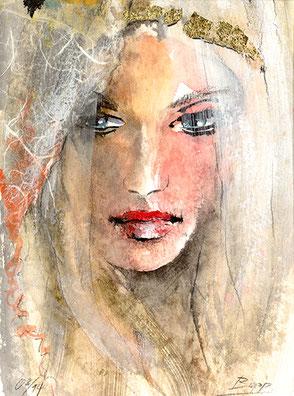 Frauengesicht gemalt, Portraitmalerei Portraitzeichnen Jopie