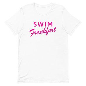 T-Shirt weiß Swim Frankfurt pink