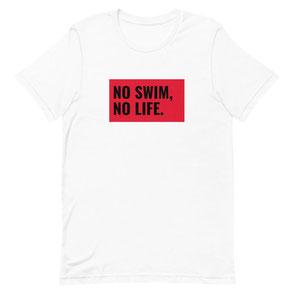 T-Shirt weiß NO Swim, NO Life schwarz/rot