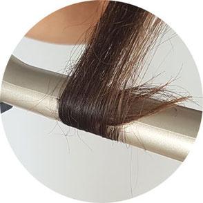 unsauber aufgedrehte Haarspitzen bei Lockenstab mit Clip