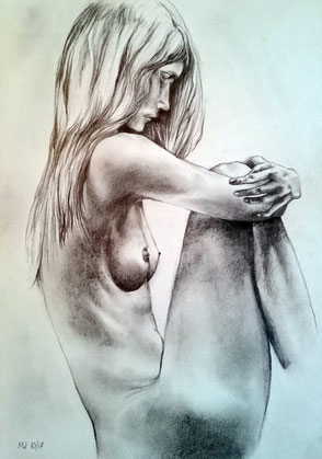 Sitting nude - pencil on paper, A3, 2017