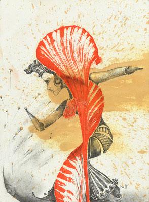 Derwish dancer - oil and pencil on paper, 22 x 20cm, 2018