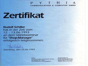 Zeugnis Rudolf Schiller - Pythia - Shop-Manager
