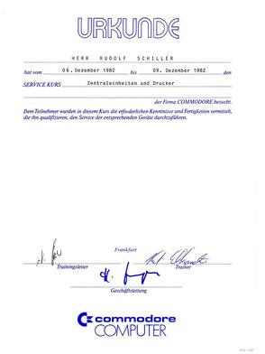 Zeugnis Rudolf Schiller - Commodore Computer - Service Kurs
