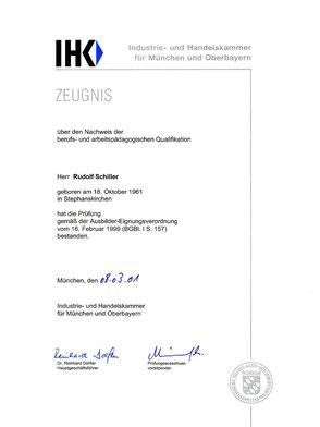 Zeugnis Rudolf Schiller -  IHK - Ausbildung für Ausbilder (IHK)