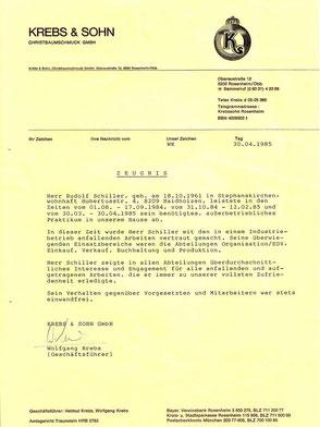 Zeugnis Rudolf Schiller - Krebs Rosenheim - Praktikum