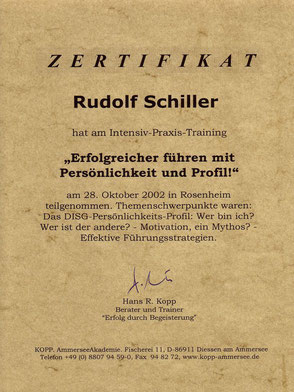 Zeugnis Rudolf Schiller - Kopp - Intensiv Praxis-Training