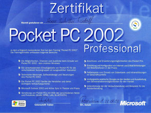 Zeugnis Rudolf Schiller - Microsoft - Pocket PC 2002 Professional