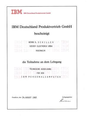 Bild Zeugnis: IBM Computer - technische Ausbildung