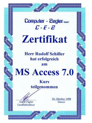 Zeugnis Rudolf Schiller - Zagler - MS Access Kurs