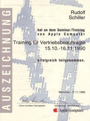 Zeugnis Rudolf Schiller - Apple Computer - Training für Vertriebsbeauftragte