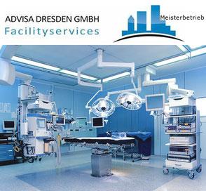 Desinfektion + Hygiene im Op-Saal eines Krankenhaus. Sauberkeit und Keimfrei ohne Viren in Dresden. Logo von ADVISA-Service Reinigungsfirma Dresden GmbH