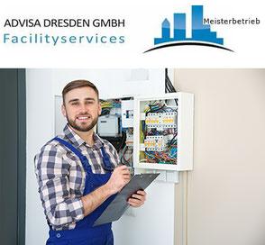 Hausmeister bei der Kontrolle von Elektroanlagen. Technischer Hausmeisterservice in Dresden. Logo von ADVISA-Service Reinigungsfirma Dresden GmbH