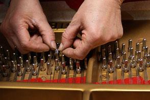 Changement des cordes d'un piano de la marque prestigieuse allemande Steinway and Sons par Alain Genestoux, accordeur diplômé d'état à Lormont près de Bordeaux en Gironde (33)
