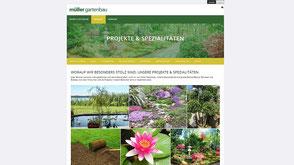 Screenshot von der Kunden Jimdo Website https://www.mueller-garten.ch/