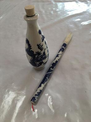 Fiole d'encre de chine et pinceau à calligraphie en porcelaine - ateliermartineh