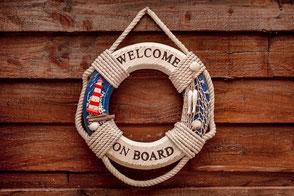 Rettungsring mit dem Aufdruck: Welcome on Board