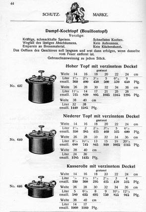 Dampfkochtopf/Selbstkocher/Kochmaschine im Katalog von 1913 fehlen im Katalog vom 1929