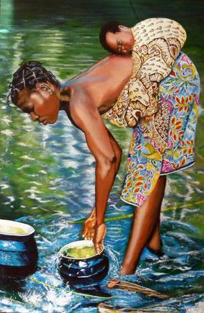 Mutter mit Kinnd am Fluss