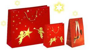 Weihnachtstüten rot mit Engel und Sternen in rot