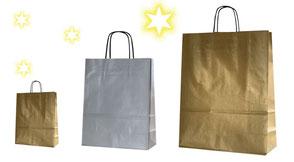 günstige Weihnachtstüten in gold oder silber mit Papierkordel in schwarz