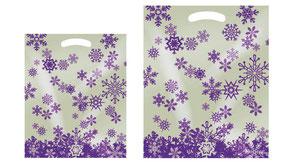 Weihnachtstüten aus Kunststoff mit Griffloch in Perlmuttfarben mit Stern in lila bedruckt