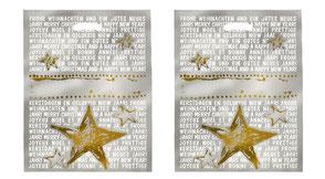 Weihnachtstüten mit Weihnachtsgrüßen und goldenen Sternen bedruckt als Griff wurde ein Griffloch ausgestanzt