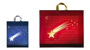 Weihnachtstüten Komet aus Kunstoff mit Schlaufe in gold oder silber