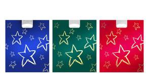 Weihnachtstüten mit Griffloch in blau grün und Rot mit Sternen in gold aus Plastik