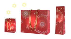 Weihnachtstüte exklusiv in 2 größen mit Kordeln in gold vollflächig rot mit Weihnachstsgrüßen bedruckt