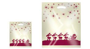 Weihnachtstüte mit Griffloch bedruckt mit Rentieren in Perlmutt Farben