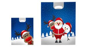 Weihnachtstüten aus Folie mit Griffloch bedruckt mit Nikolaus Rentier und Schneemann