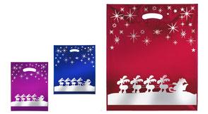 Weihnachtstüte Rentier aus Plastik in verschiedenen Farben mit Kristall und Rentierschlittem mit Weihnachtmann in silber