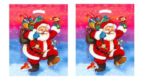 Weihnachtstüte Nikolaus aus Folie mit Griffloch aus Kunststoff Plastik