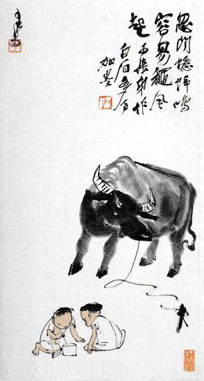 Li Keran, En gardant le buffle, rouleau mural, encre et couleur claire sur papier, 1947