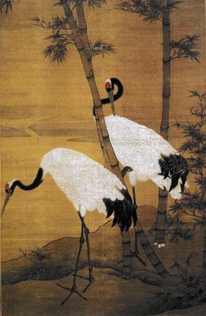 Bian Jingzhao, Bambous et grues, rouleau mural, encre et couleur sur soie, XVè siècle
