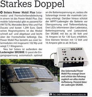 solara power mobil plus für die Frontscheib zur stromerzeugung und verschattung besonder flaches und leichtes  solarmodul für Van, Kastenwagen, VW Bus, T5 uvm
