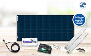 SOLARA Premium Pack. Hochwertige Solaranlage komplett mit high tech Solarmodul, morningstar Laderegler, Haltespoiler Montagesystem mit Klebeset zur Aufleben auf dem Dach vom Wohnmobil oder Camper sowie Solarkabel und eine ausführliche Aufbauanleitung