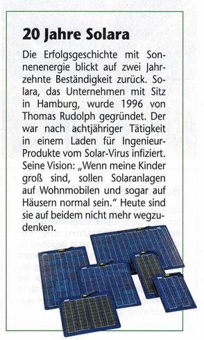 solara der Solaranlagenspezialist wird 20 Jahre. Ein Interview über Solaranlagen, Solarmodule in der Reisemobil International für Wohnmobile, Camper und Reisemobile.
