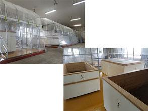 ビニールハウス棟と発酵槽