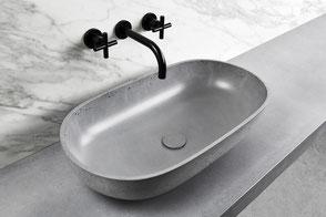 ovales Waschbecken aus Beton OVAL
